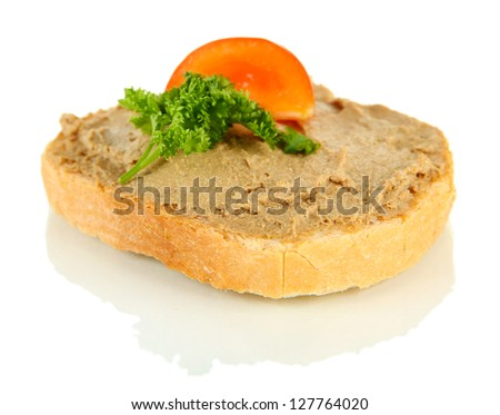 Fresh pate on bread, isolated on white - stock photo
