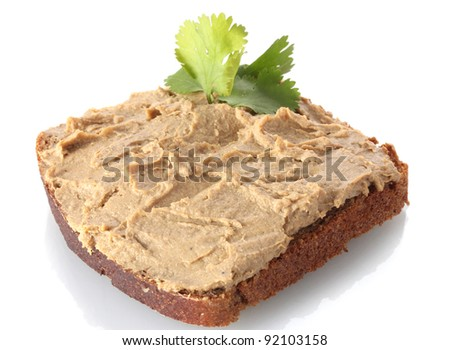 Fresh pate on bread isolated on white - stock photo
