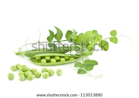 fresh pea with green leaf isolated on white background - stock photo