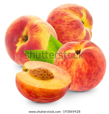 fresh peach fruits and half. Isolated on white background - stock