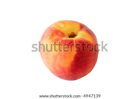 Fresh peach with water drips, isolated on white background. - stock photo