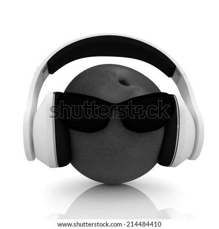 "fresh peaches with sun glass and headphones front ""face"" on a white background"