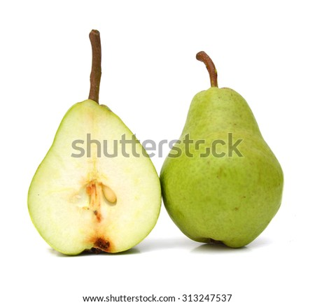 fresh pears half isolated on white background