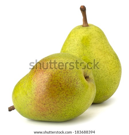 Fresh pears isolated on white background - stock photo