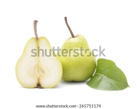 Fresh pears isolated on white background - stock photo