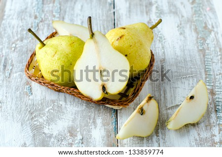 Fresh pears.Selective focus - stock photo
