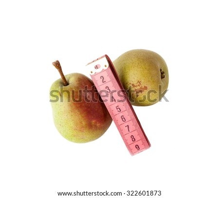 Fresh pears  with measurement tape isolated on white. Diet concept