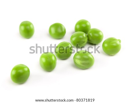 fresh peas isolated on white background