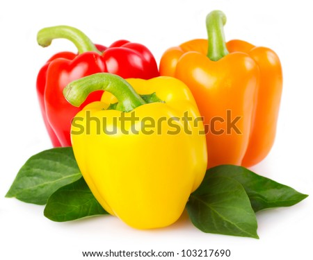 fresh pepper with leaves isolated on white background - stock photo
