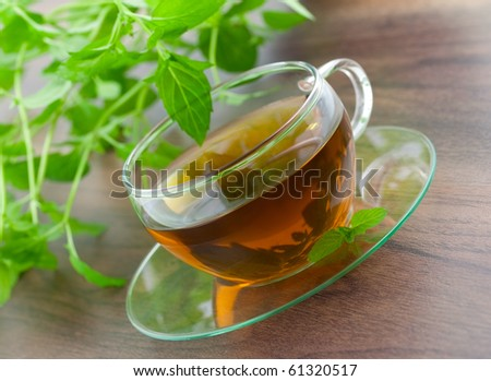 fresh peppermint tea with mint in background