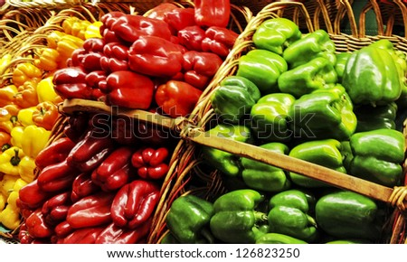 fresh peppers in baskets