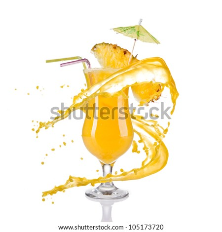 Fresh pineapple cocktail with juice splash, isolated on white background - stock photo