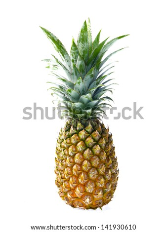 Fresh pineapple isolated on white background - stock photo