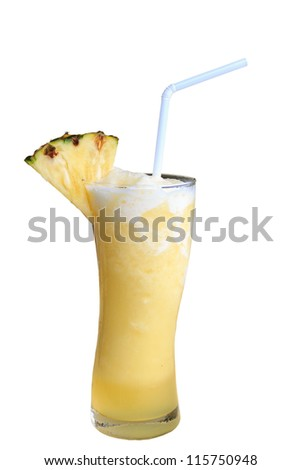 Fresh pineapple with frozen juice, isolated on white background. - stock photo