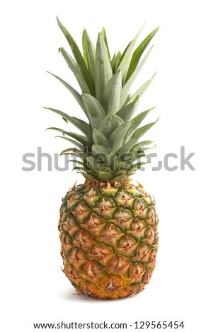 Fresh pineapple with leaves isolated on white background - stock photo