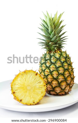 Fresh Pineapple with leaves, Tropical Climate, Fruit.