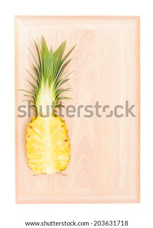 fresh  pineapple,yellow flesh with green leaves - stock photo