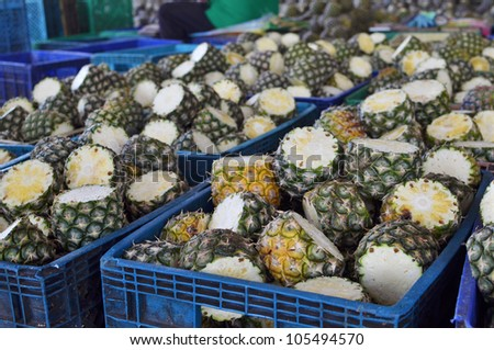 Fresh Pineapples from farm - Tropical fruits - stock photo