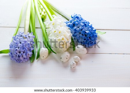 Fresh pink, blue and white flowers hyacinths with Easter eggs in ray of light on painted wooden background. Place for text.