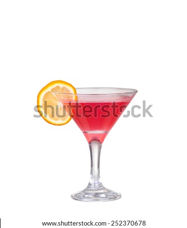 Fresh pink cocktail, lemon isolated on a white background