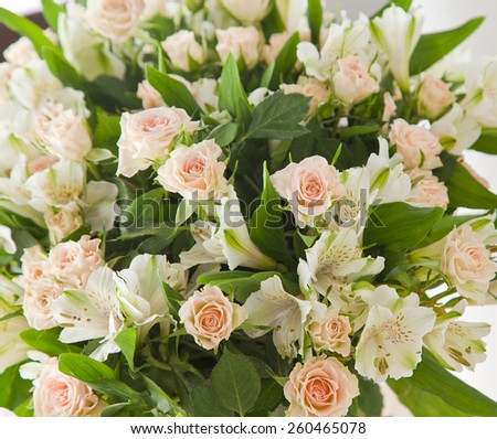 Fresh pink roses. Wedding bouquet with rose bush.  - stock photo