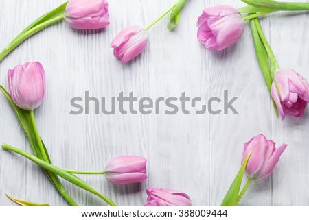 Fresh pink tulip flowers on wooden table. Top view with copy space