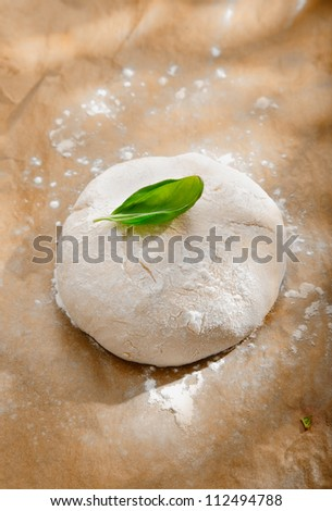 Fresh pizza dough for a pizza base left to rise before being rolled out and cut into a round shape for the crust - stock photo