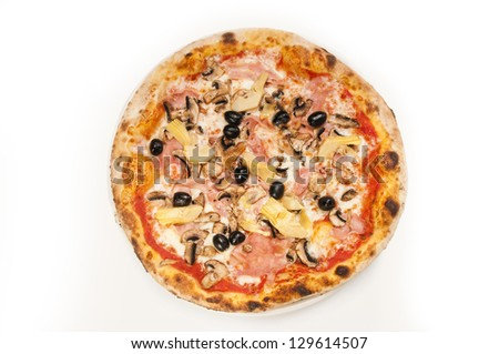 Fresh pizza isolated on white from the top.