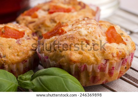 Fresh pizza muffin as a snack - stock photo