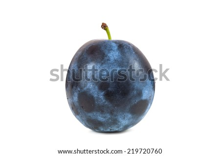 Fresh plum isolated on white background with clipping path - stock photo