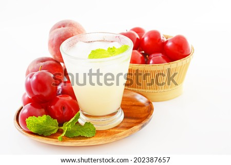 fresh plums and juice