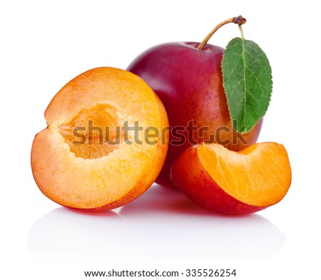 Fresh plums isolated on a white background - stock photo