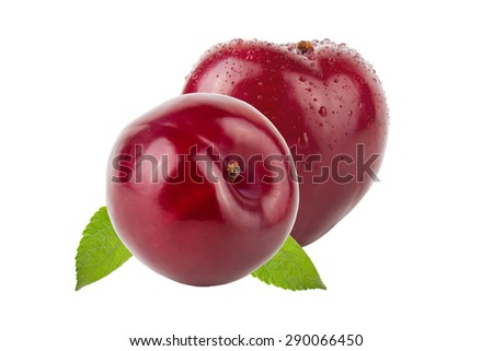 Fresh plums with drops of water and leaves isolated on white background. - stock photo