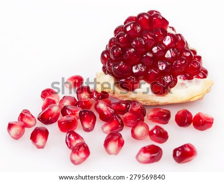 fresh pomegranate isolated on white background - stock photo