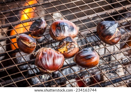 fresh pork chops grilled in barbecue style - stock photo