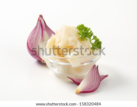 fresh pork lard with onion a parsley - stock photo
