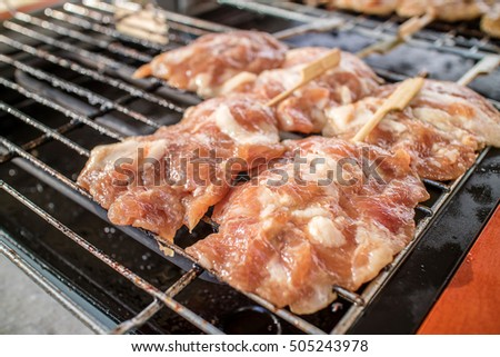 Fresh pork skewers on the grill power.