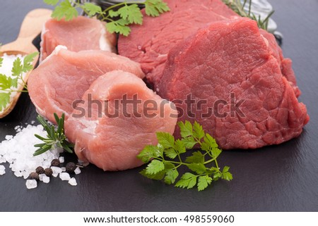 Fresh pork tenderloin and beef fillet