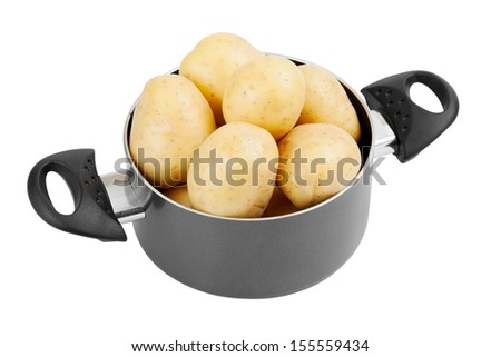 fresh potatoes in cooking pot, isolated - stock photo