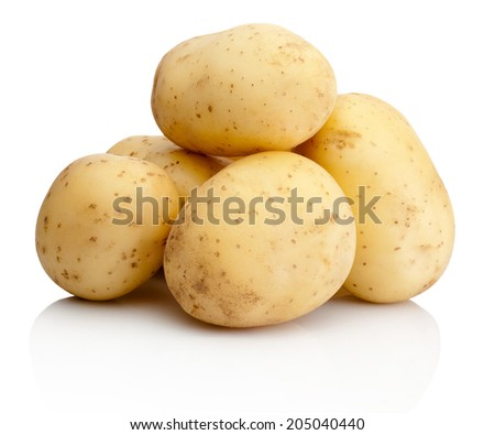 Fresh potatoes isolated on white background - stock photo