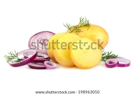 Fresh potatoes, red onion rings and green dill on a white background