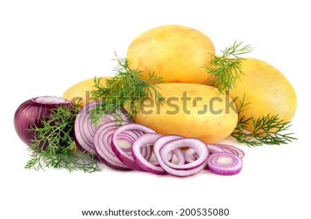Fresh potatoes with red onion rings and green dill on a white background