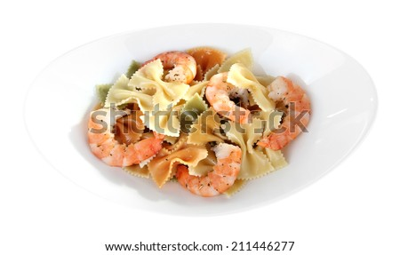Fresh prawns with coloured macaroni in a white oval bowl on white background isolated