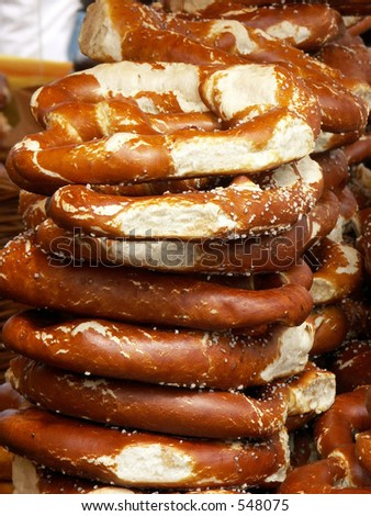 Fresh pretzels in Frankfurt, Germany