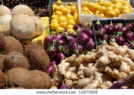 fresh produce at farmer's market - stock photo