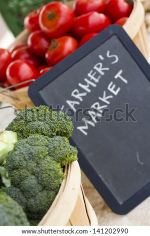 Fresh produce on sale at the local farmers market. - stock photo