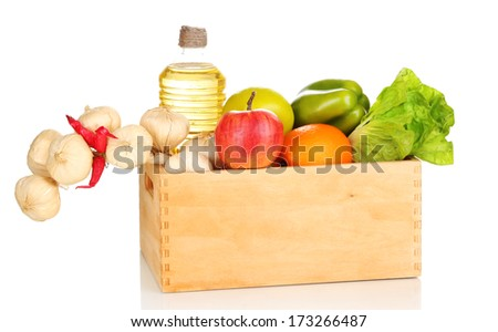 Fresh products in wooden box, isolated on white