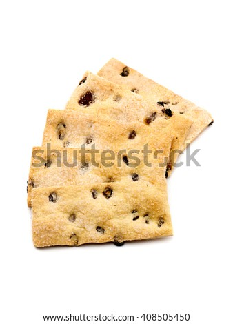 Fresh puff pastry with raisins, isolated on white background. Close up of a high resolution image. - stock photo