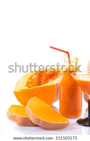 Fresh pumpkin juice on a white background