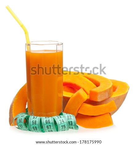 Fresh pumpkin juice with slices of raw pumpkin isolated on a white background - stock photo